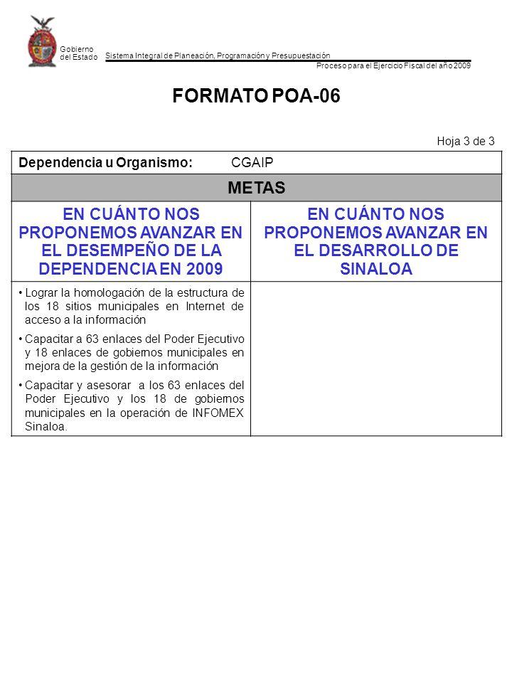 Sistema Integral de Planeación, Programación y Presupuestación Proceso para el Ejercicio Fiscal del año 2009 Gobierno del Estado FORMATO POA-06 Hoja 3 de 3 Dependencia u Organismo:CGAIP METAS EN CUÁNTO NOS PROPONEMOS AVANZAR EN EL DESEMPEÑO DE LA DEPENDENCIA EN 2009 EN CUÁNTO NOS PROPONEMOS AVANZAR EN EL DESARROLLO DE SINALOA Lograr la homologación de la estructura de los 18 sitios municipales en Internet de acceso a la información Capacitar a 63 enlaces del Poder Ejecutivo y 18 enlaces de gobiernos municipales en mejora de la gestión de la información Capacitar y asesorar a los 63 enlaces del Poder Ejecutivo y los 18 de gobiernos municipales en la operación de INFOMEX Sinaloa.