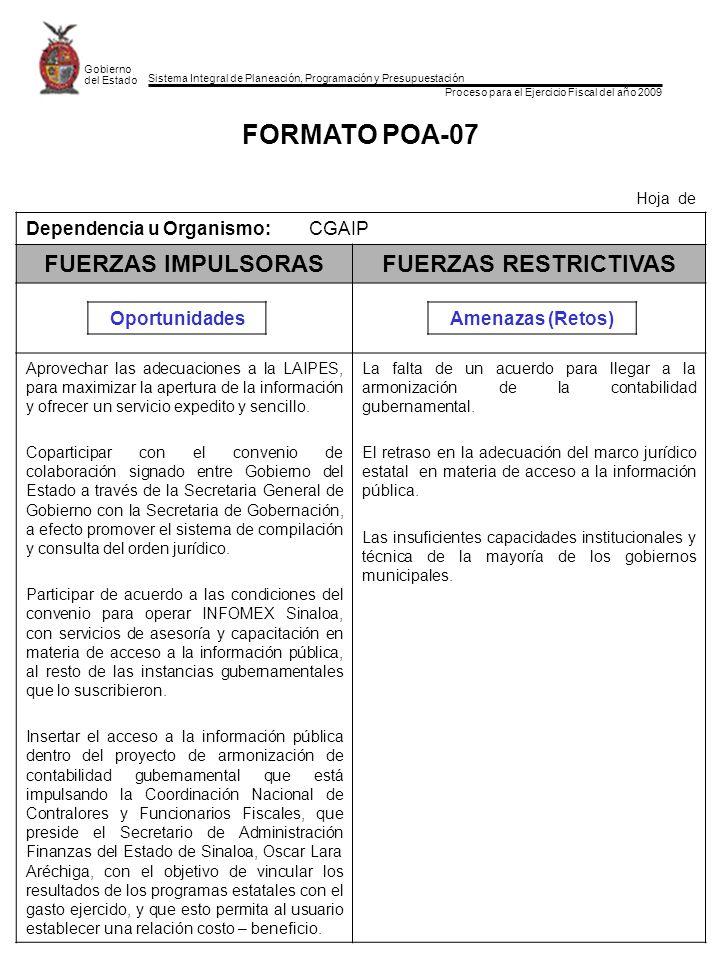 Sistema Integral de Planeación, Programación y Presupuestación Proceso para el Ejercicio Fiscal del año 2009 Gobierno del Estado FORMATO POA-07 Hoja d
