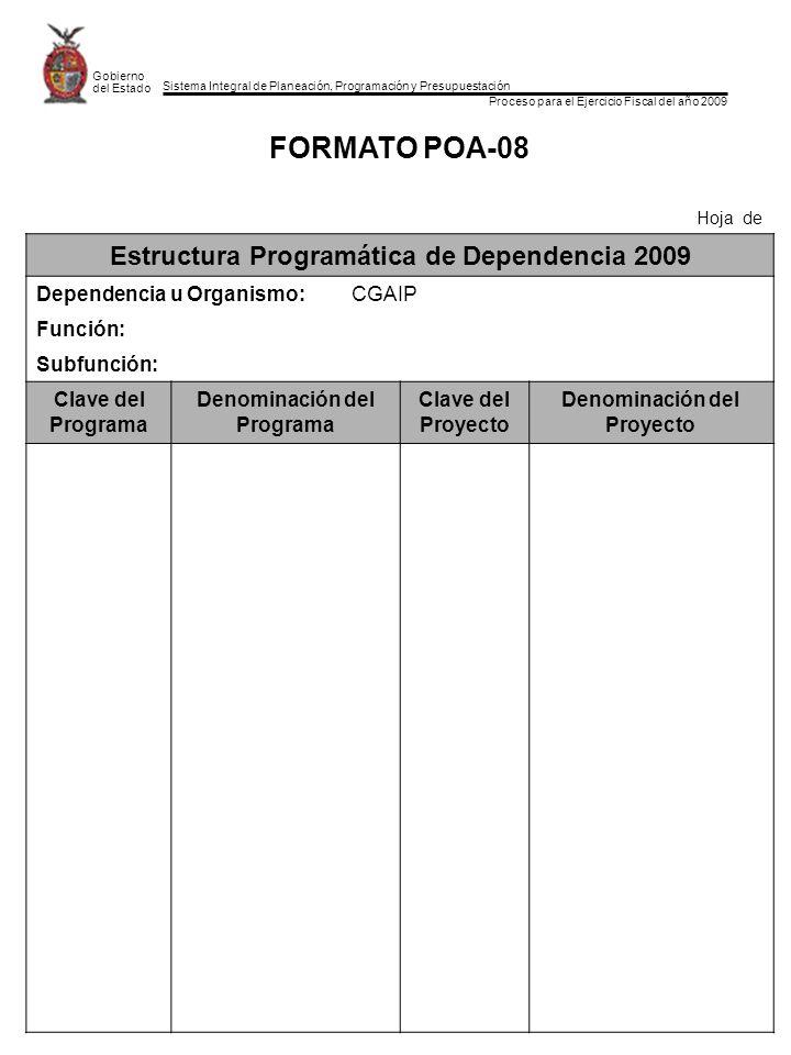 Sistema Integral de Planeación, Programación y Presupuestación Proceso para el Ejercicio Fiscal del año 2009 Gobierno del Estado FORMATO POA-08 Hoja de Estructura Programática de Dependencia 2009 Dependencia u Organismo:CGAIP Función: Subfunción: Clave del Programa Denominación del Programa Clave del Proyecto Denominación del Proyecto