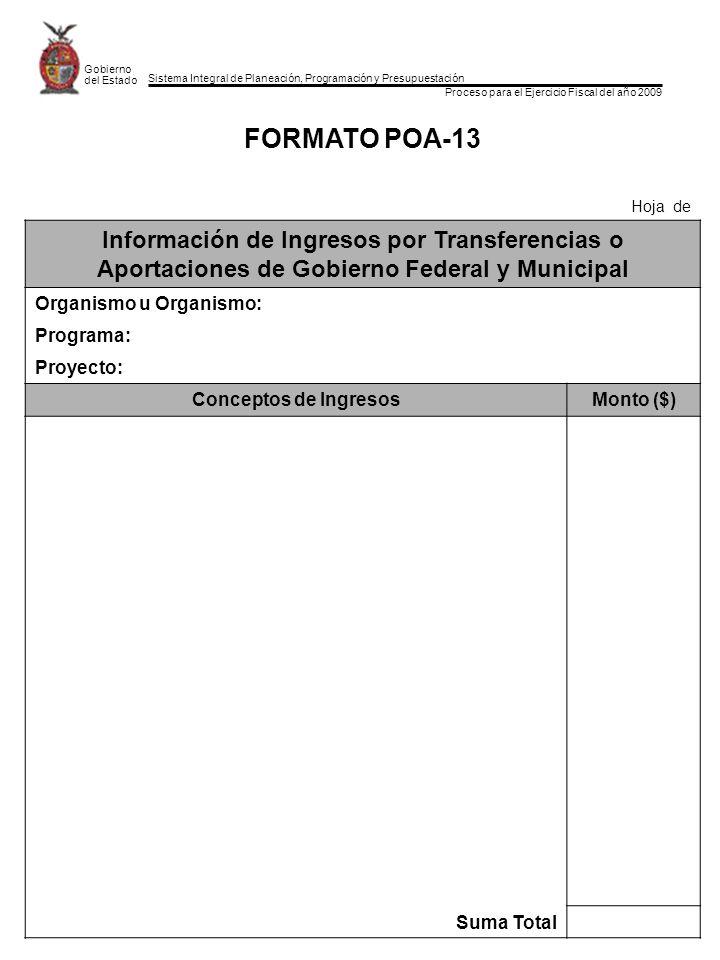 Sistema Integral de Planeación, Programación y Presupuestación Proceso para el Ejercicio Fiscal del año 2009 Gobierno del Estado FORMATO POA-13 Hoja d