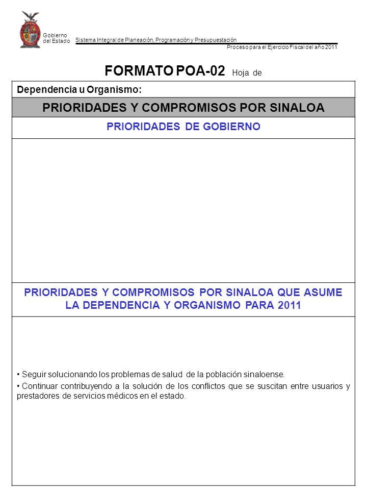 Sistema Integral de Planeación, Programación y Presupuestación Proceso para el Ejercicio Fiscal del año 2011 Gobierno del Estado FORMATO POA-02 Hoja de Dependencia u Organismo: PRIORIDADES Y COMPROMISOS POR SINALOA PRIORIDADES DE GOBIERNO PRIORIDADES Y COMPROMISOS POR SINALOA QUE ASUME LA DEPENDENCIA Y ORGANISMO PARA 2011 Seguir solucionando los problemas de salud de la población sinaloense.