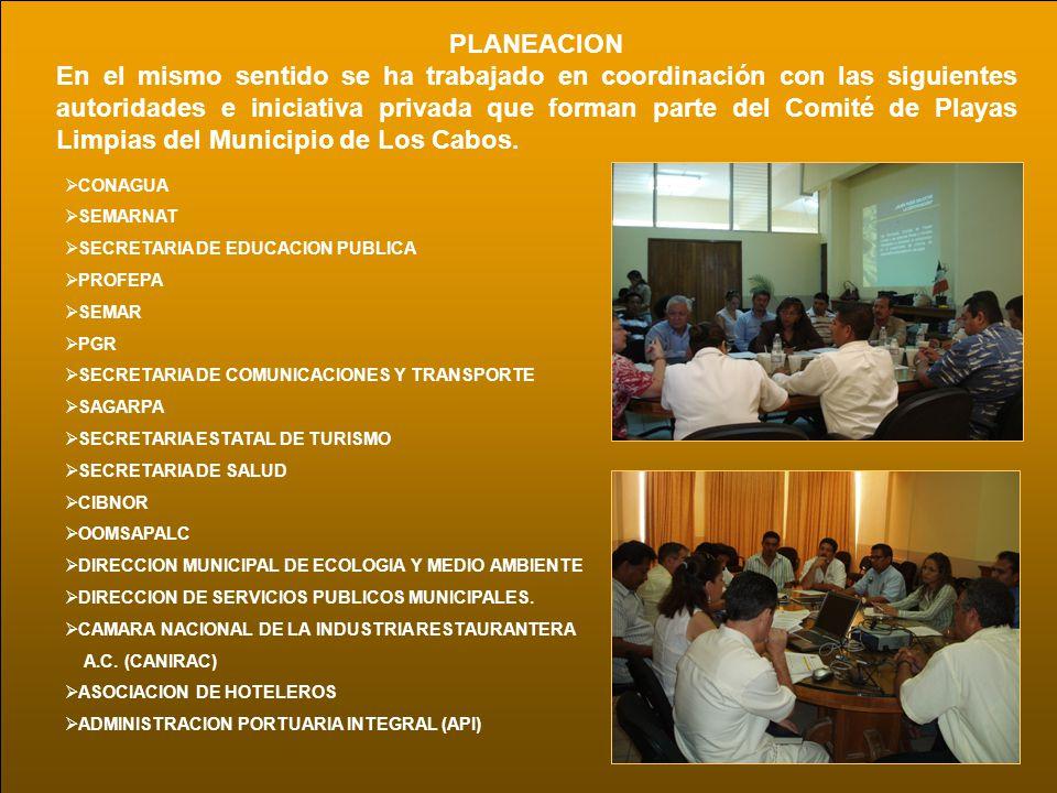 PLANEACION En el mismo sentido se ha trabajado en coordinación con las siguientes autoridades e iniciativa privada que forman parte del Comité de Play