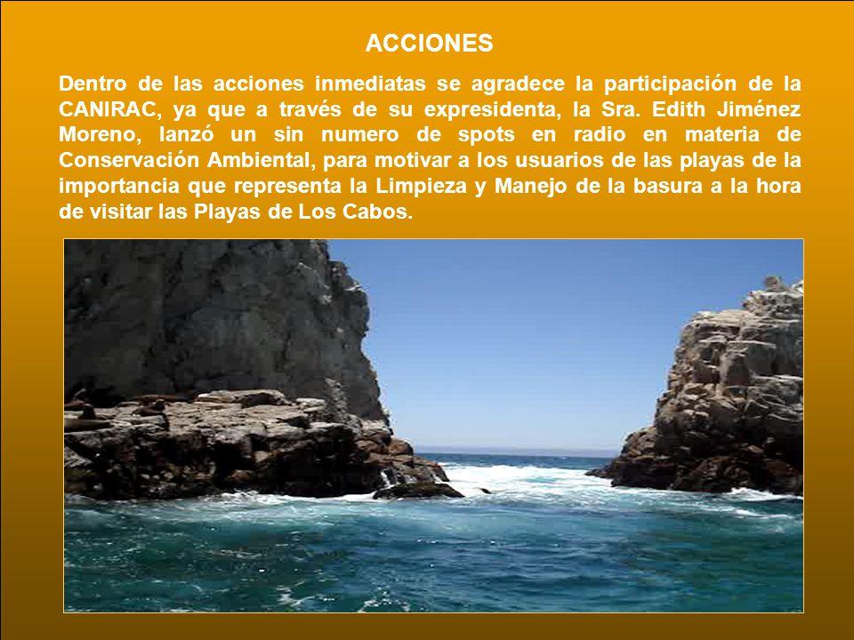ACCIONES Dentro de las acciones inmediatas se agradece la participación de la CANIRAC, ya que a través de su expresidenta, la Sra. Edith Jiménez Moren
