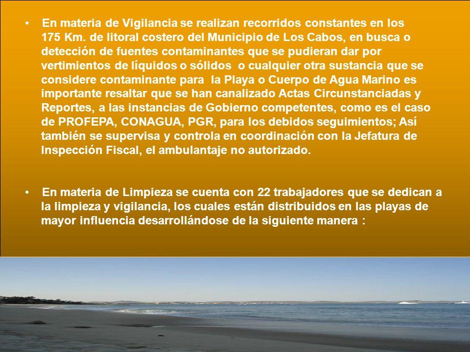 En materia de Vigilancia se realizan recorridos constantes en los 175 Km. de litoral costero del Municipio de Los Cabos, en busca o detección de fuent
