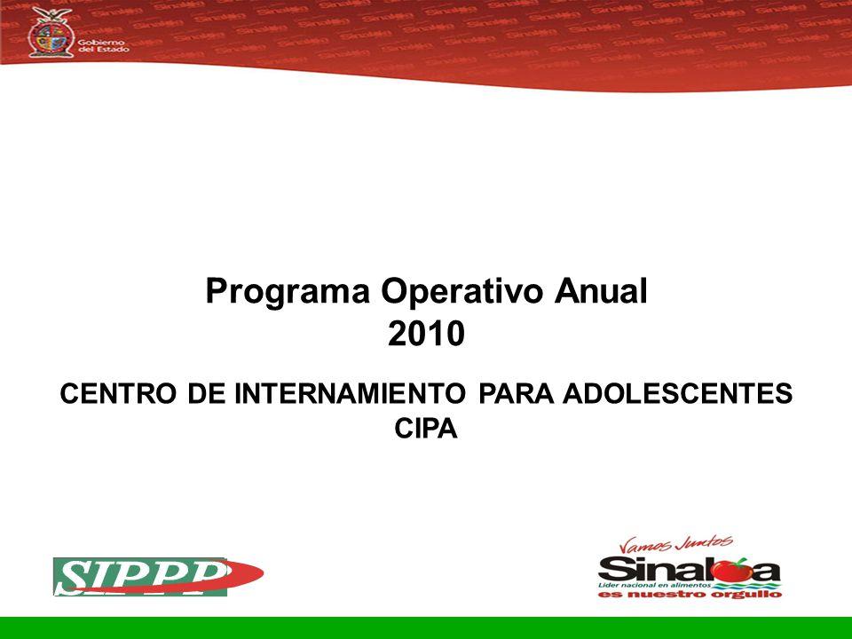 Programa Operativo Anual 2010 CENTRO DE INTERNAMIENTO PARA ADOLESCENTES CIPA