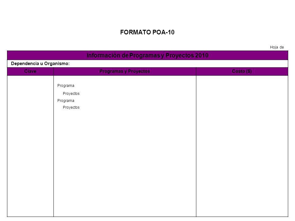 FORMATO POA-10 Hoja de Información de Programas y Proyectos 2010 Dependencia u Organismo: ClaveProgramas y ProyectosCosto ($) Programa Proyectos Programa Proyectos