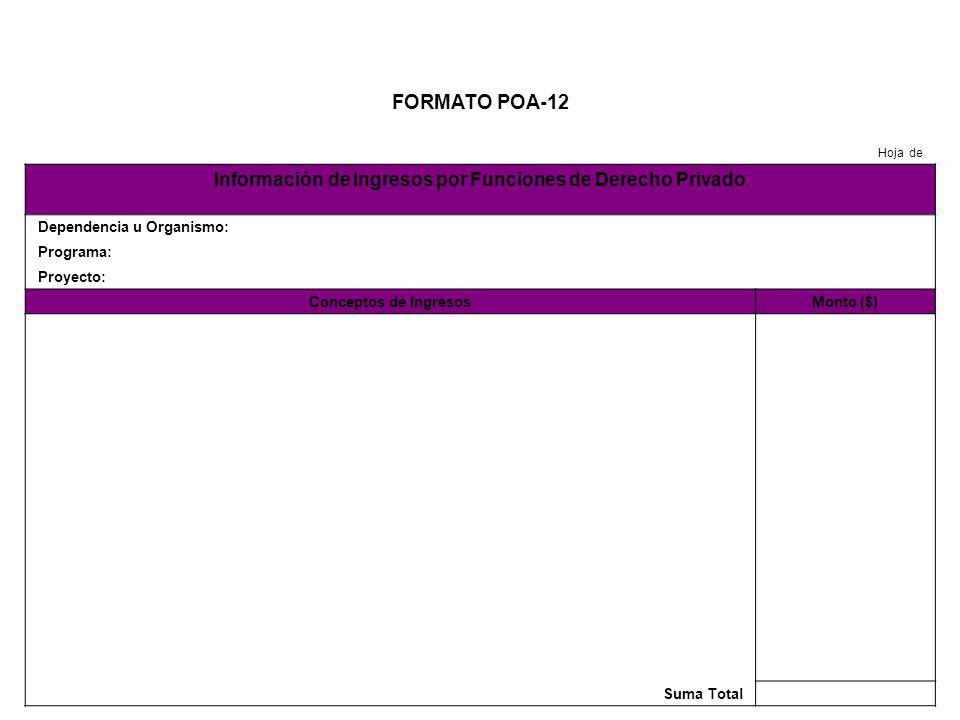 FORMATO POA-13 Hoja de Información de Ingresos Propios Dependencia u Organismo: Programa: Proyecto: Conceptos de IngresosMonto ($) Suma Total
