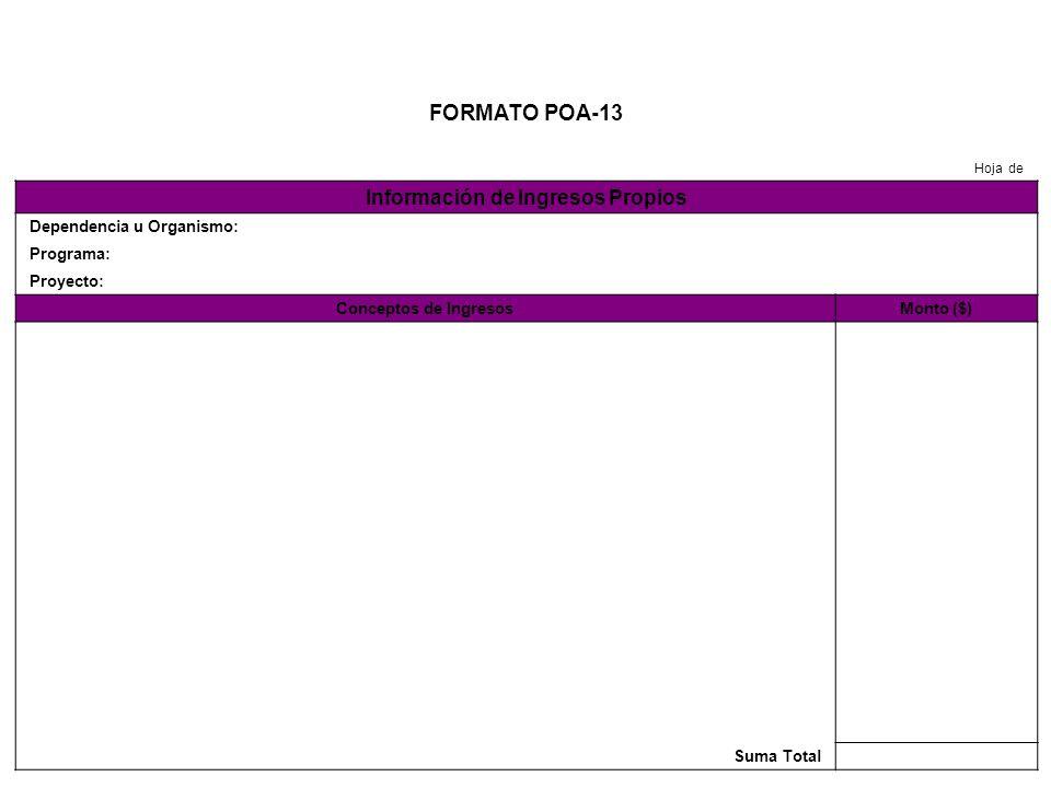 FORMATO POA-14 Hoja de Información de Ingresos por Transferencias o Aportaciones de Gobierno Federal y Municipal Dependencia u Organismo: Programa: Proyecto: Conceptos de IngresosMonto ($) Suma Total