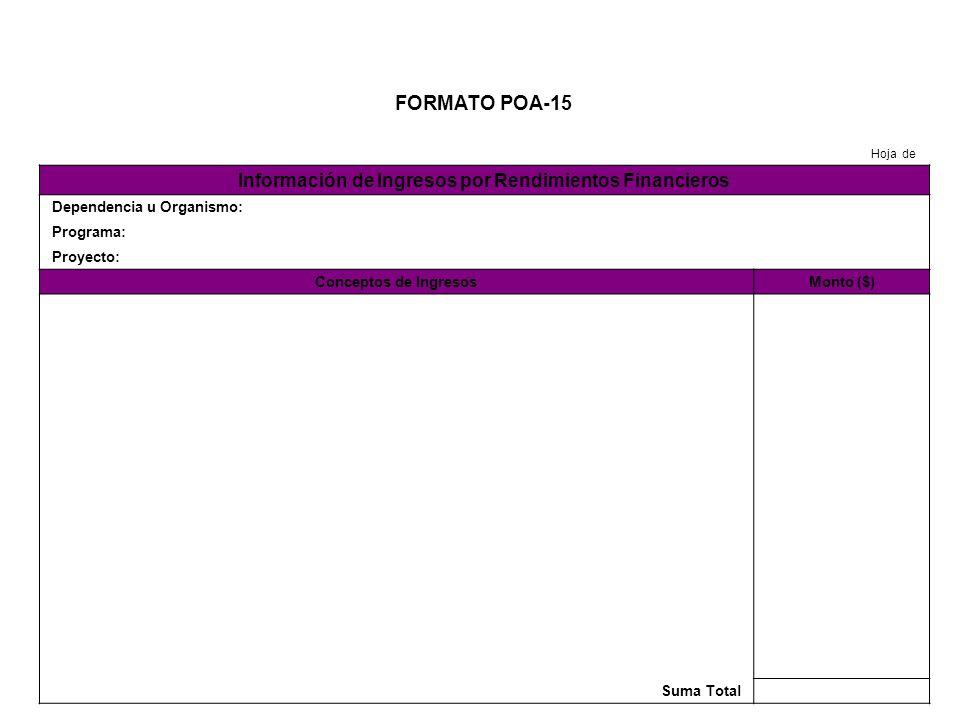 FORMATO POA-16 Hoja de Presupuesto para Mujeres y la Igualdad de Género Dependencia u Organismo: Programa: Proyecto: ConceptoPoblación BeneficiadaMonto ($) Suma Total