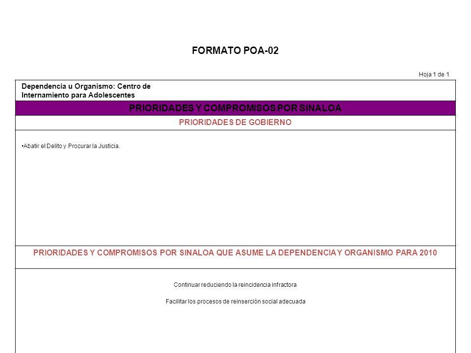 FORMATO POA-03 Hoja_1__ de__1_ Dependencia u Organismo: Centro de Internmiento para Adolescentes VISION TACTICA DEHASTA NUESTROS RETOS OPERATIVOS (PROBLEMAS FUNDAMENTALES) ACTUALES DE LA DEPENDENCIA NUESTRAS ASPIRACIONES PARA MEJORAR EL FUNCIONAMIENTO DE LA DEPENDENCIA EN 2010 Incrementar las opciones de atención para la población interna que en virtud de la Ley de Justicia para Adolescentes tiene largos tiempos de permanencia en internamiento y se convierte en adulto joven dentro del CIPA Lograr la aprobación de todos los Proyectos presentados al Fondo de Aportación de Seguridad Pública 2010, para incrementar y mejorar las opciones de atención.
