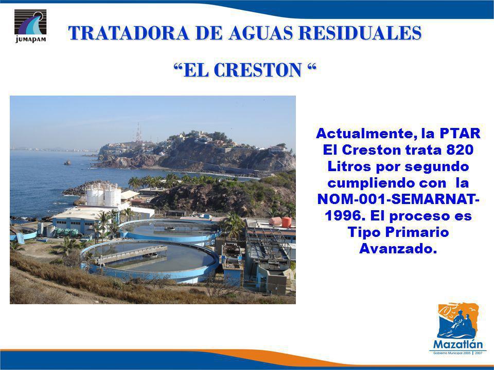 TRATADORA DE AGUAS RESIDUALES EL CRESTON EL CRESTON Actualmente, la PTAR El Creston trata 820 Litros por segundo cumpliendo con la NOM-001-SEMARNAT- 1