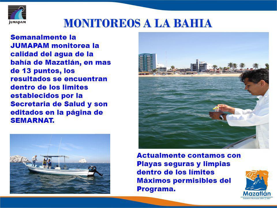 MONITOREOS A LA BAHIA Semanalmente la JUMAPAM monitorea la calidad del agua de la bahía de Mazatlán, en mas de 13 puntos, los resultados se encuentran