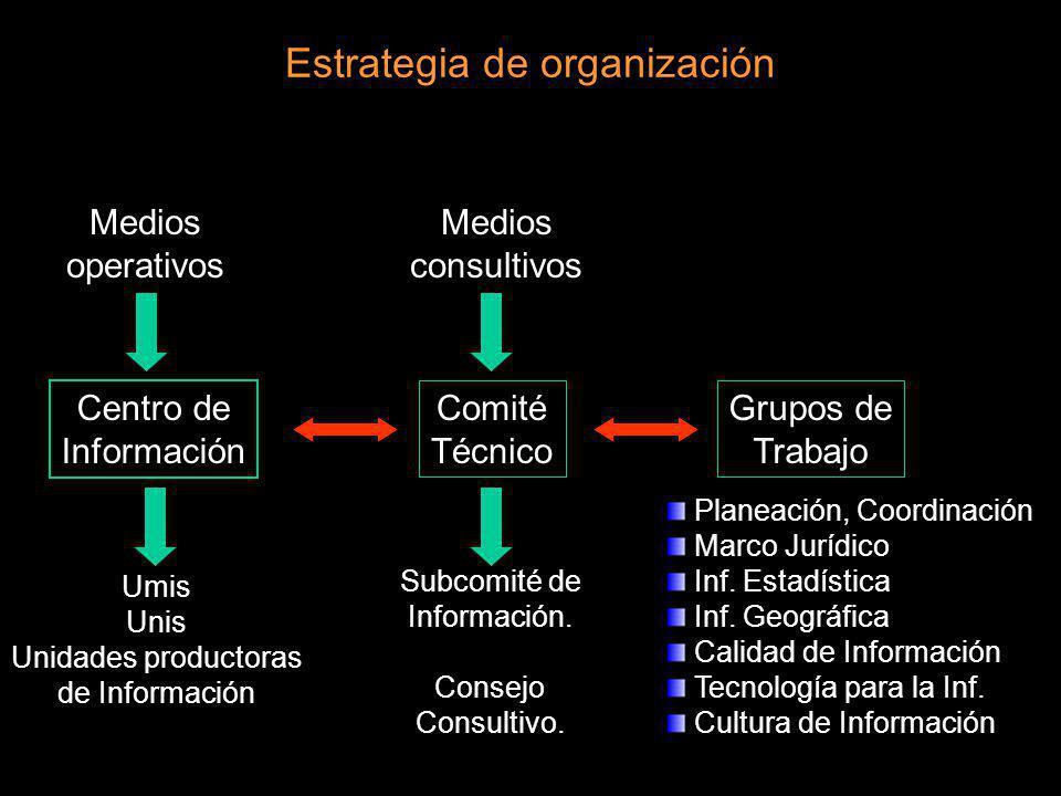 Estrategia de organización Medios operativos Medios consultivos Centro de Información Comité Técnico Umis Unis Unidades productoras de Información Sub
