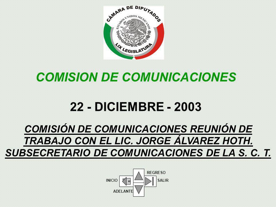 COMISIÓN DE COMUNICACIONES REUNIÓN DE TRABAJO CON EL LIC.