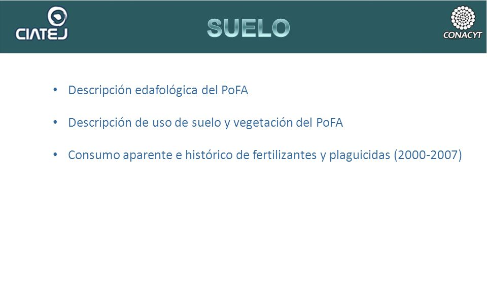 Descripción edafológica del PoFA Descripción de uso de suelo y vegetación del PoFA Consumo aparente e histórico de fertilizantes y plaguicidas (2000-2