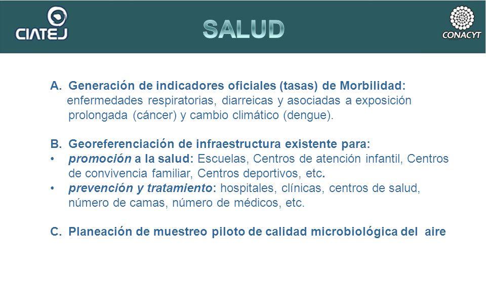 A.Generación de indicadores oficiales (tasas) de Morbilidad: enfermedades respiratorias, diarreicas y asociadas a exposición prolongada (cáncer) y cam