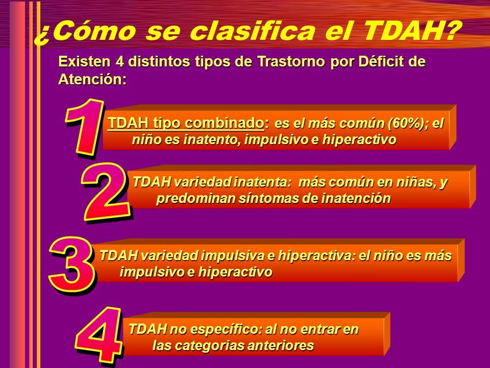 ¿Cómo se clasifica el TDAH? Existen 4 distintos tipos de Trastorno por Déficit de Atención: TDAH tipo combinado: es el más común (60%); el niño es ina