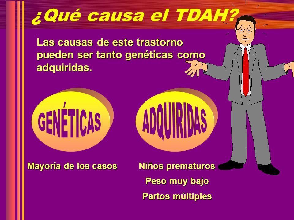 ¿Qué causa el TDAH? Las causas de este trastorno pueden ser tanto genéticas como adquiridas. Mayoría de los casos Niños prematuros Peso muy bajo Parto