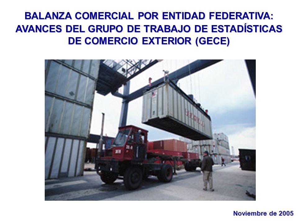 BALANZA COMERCIAL POR ENTIDAD FEDERATIVA: AVANCES DEL GRUPO DE TRABAJO DE ESTADÍSTICAS DE COMERCIO EXTERIOR (GECE) Noviembre de 2005