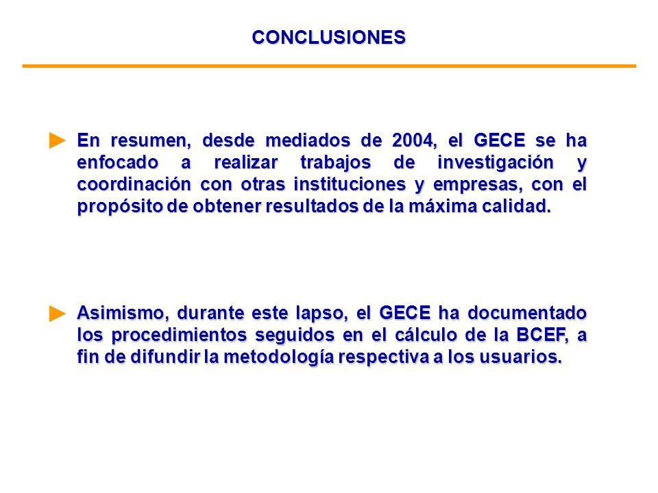 CONCLUSIONES En resumen, desde mediados de 2004, el GECE se ha enfocado a realizar trabajos de investigación y coordinación con otras instituciones y