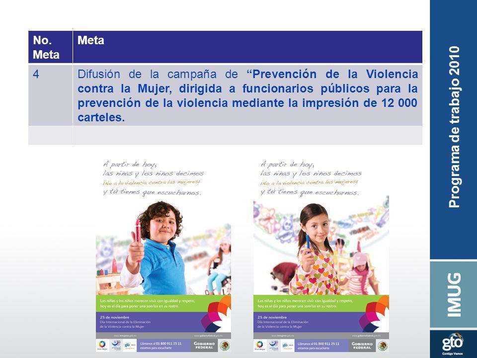Programa de trabajo 2010 No. Meta 4Difusión de la campaña de Prevención de la Violencia contra la Mujer, dirigida a funcionarios públicos para la prev