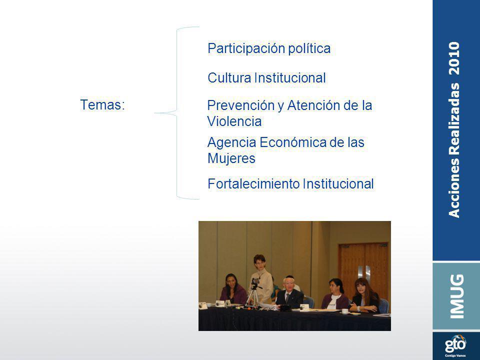 Acciones Realizadas 2010 Temas: Participación política Cultura Institucional Prevención y Atención de la Violencia Agencia Económica de las Mujeres Fo