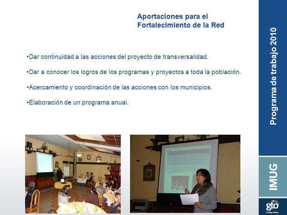 Aportaciones para el Fortalecimiento de la Red Dar continuidad a las acciones del proyecto de transversalidad. Dar a conocer los logros de los program