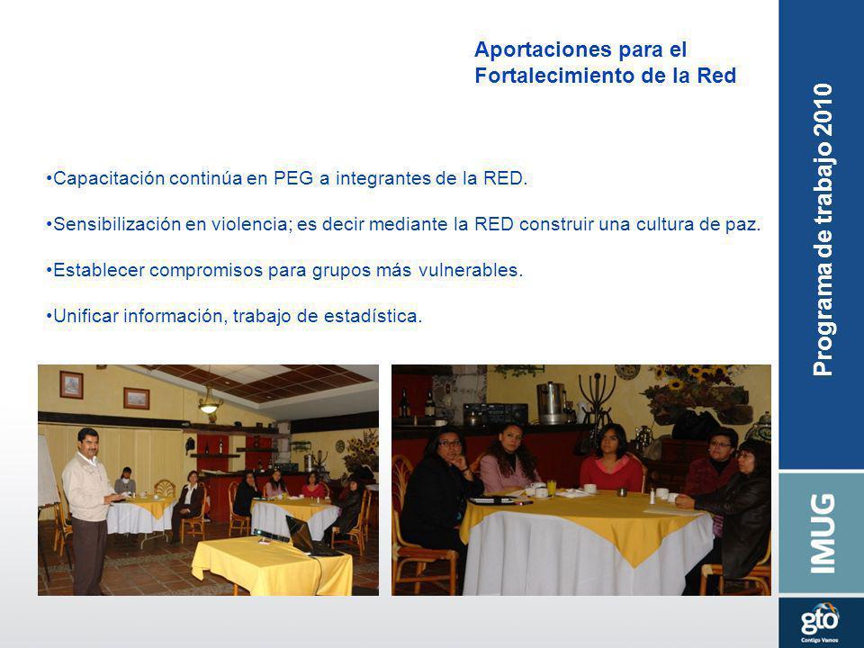 Aportaciones para el Fortalecimiento de la Red Capacitación continúa en PEG a integrantes de la RED. Sensibilización en violencia; es decir mediante l