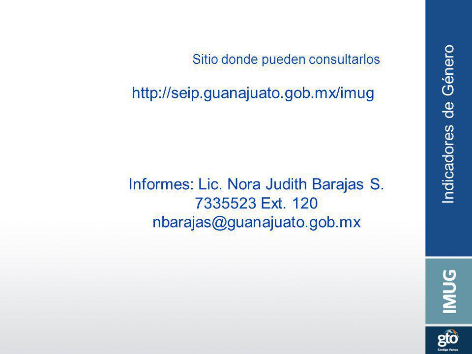 Sitio donde pueden consultarlos http://seip.guanajuato.gob.mx/imug Indicadores de Género Informes: Lic. Nora Judith Barajas S. 7335523 Ext. 120 nbaraj