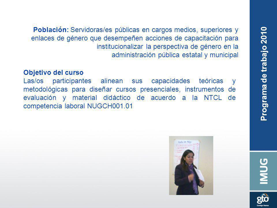 Población: Servidoras/es públicas en cargos medios, superiores y enlaces de género que desempeñen acciones de capacitación para institucionalizar la p