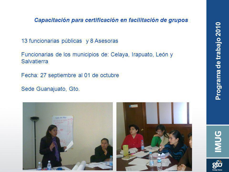 Capacitación para certificación en facilitación de grupos 13 funcionarias públicas y 8 Asesoras Funcionarias de los municipios de: Celaya, Irapuato, L