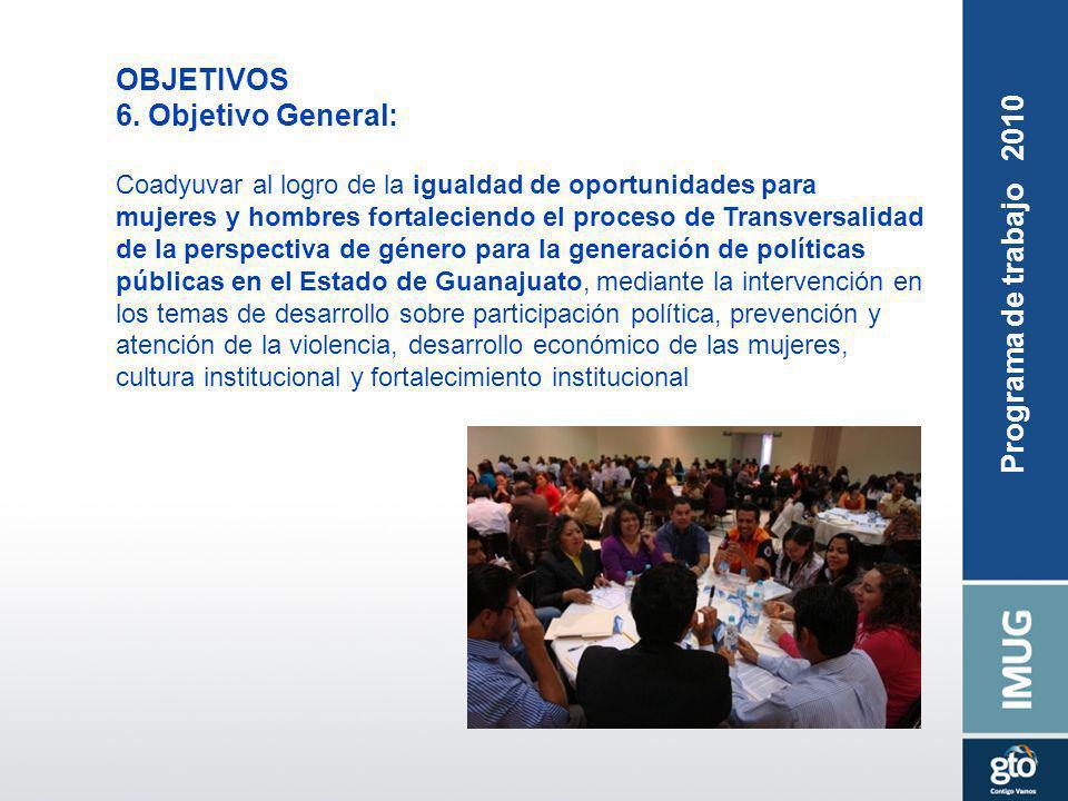 Seguimiento de Acuerdos Programa de trabajo 2010 OBJETIVOS 6. Objetivo General: Coadyuvar al logro de la igualdad de oportunidades para mujeres y homb