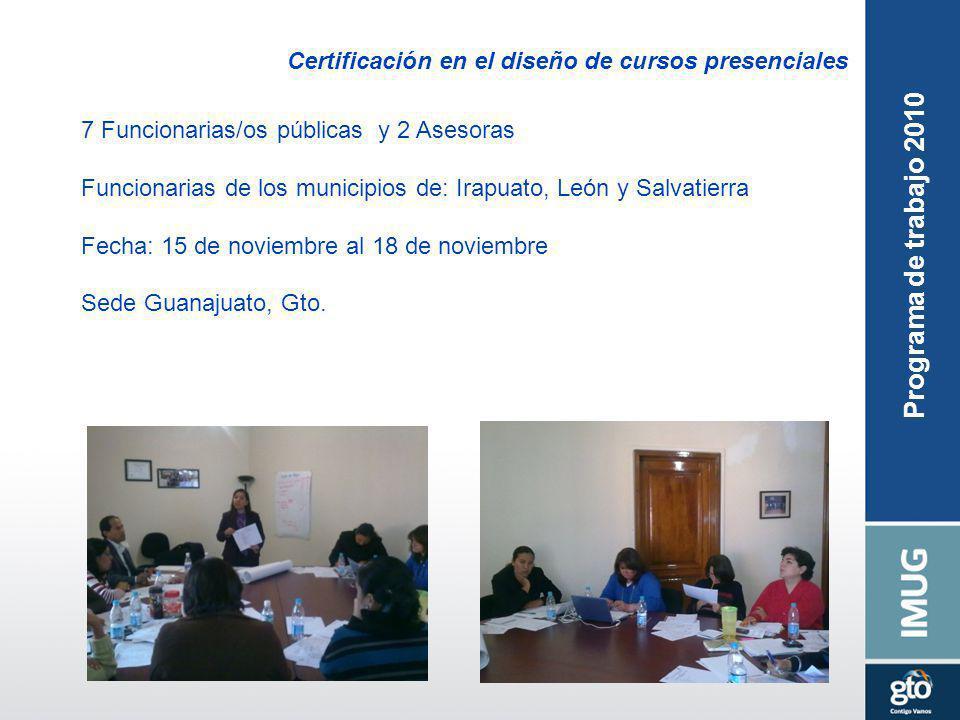 Certificación en el diseño de cursos presenciales 7 Funcionarias/os públicas y 2 Asesoras Funcionarias de los municipios de: Irapuato, León y Salvatierra Fecha: 15 de noviembre al 18 de noviembre Sede Guanajuato, Gto.
