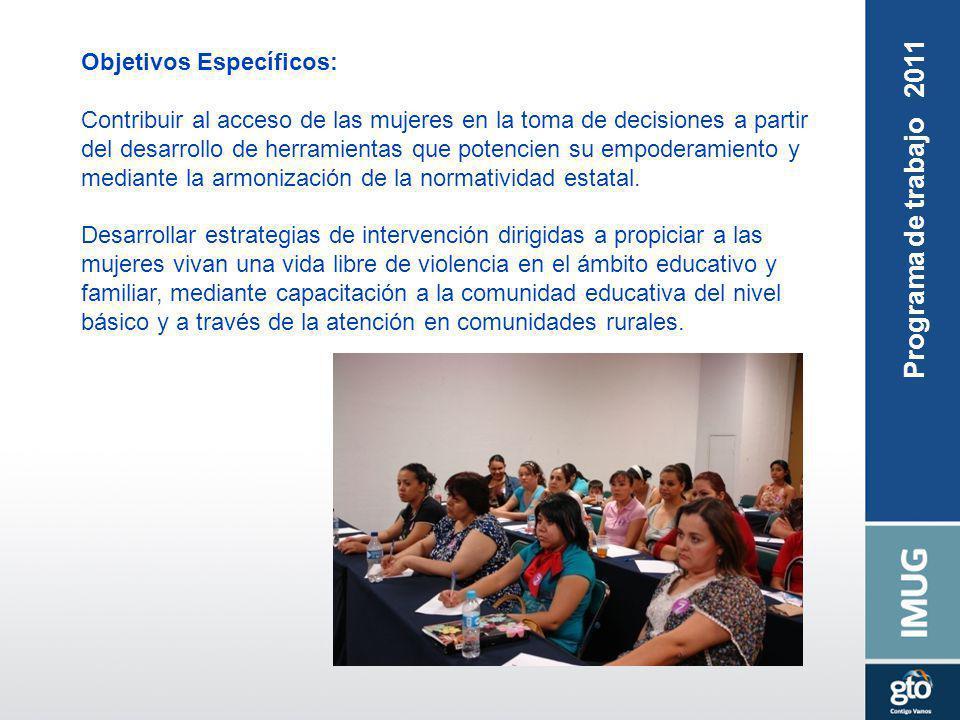 Objetivos Específicos: Contribuir al acceso de las mujeres en la toma de decisiones a partir del desarrollo de herramientas que potencien su empoderam