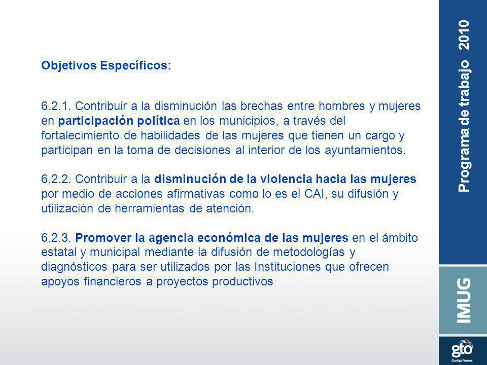 Objetivos Específicos: 6.2.1. Contribuir a la disminución las brechas entre hombres y mujeres en participación política en los municipios, a través de