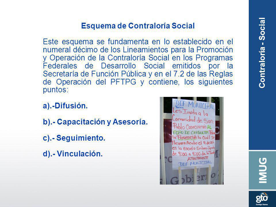 Esquema de Contraloría Social Este esquema se fundamenta en lo establecido en el numeral décimo de los Lineamientos para la Promoción y Operación de l