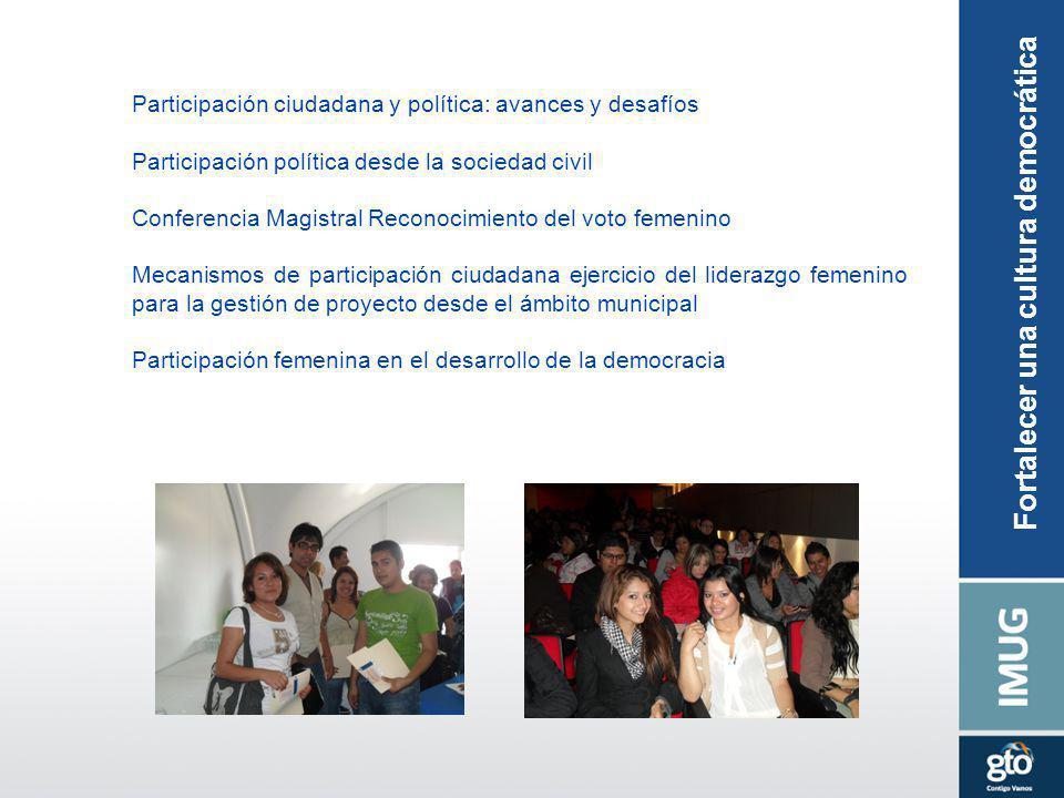 Participación ciudadana y política: avances y desafíos Participación política desde la sociedad civil Conferencia Magistral Reconocimiento del voto fe