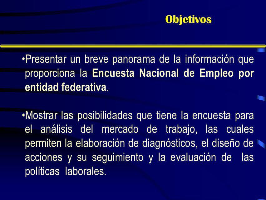 Objetivos Presentar un breve panorama de la información que proporciona la Encuesta Nacional de Empleo por entidad federativa.