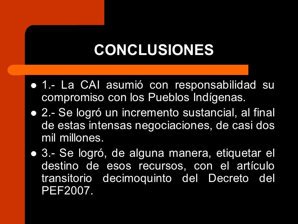 CONCLUSIONES 1.- La CAI asumió con responsabilidad su compromiso con los Pueblos Indígenas.