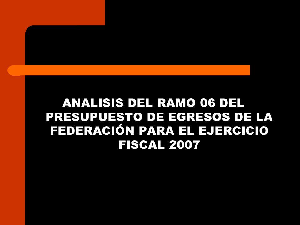 ANALISIS DEL RAMO 06 DEL PRESUPUESTO DE EGRESOS DE LA FEDERACIÓN PARA EL EJERCICIO FISCAL 2007