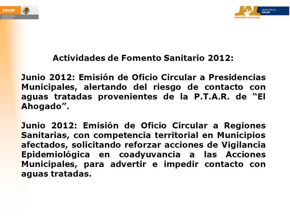 Actividades de Fomento Sanitario 2012: Junio 2012: Emisión de Oficio Circular a Presidencias Municipales, alertando del riesgo de contacto con aguas tratadas provenientes de la P.T.A.R.