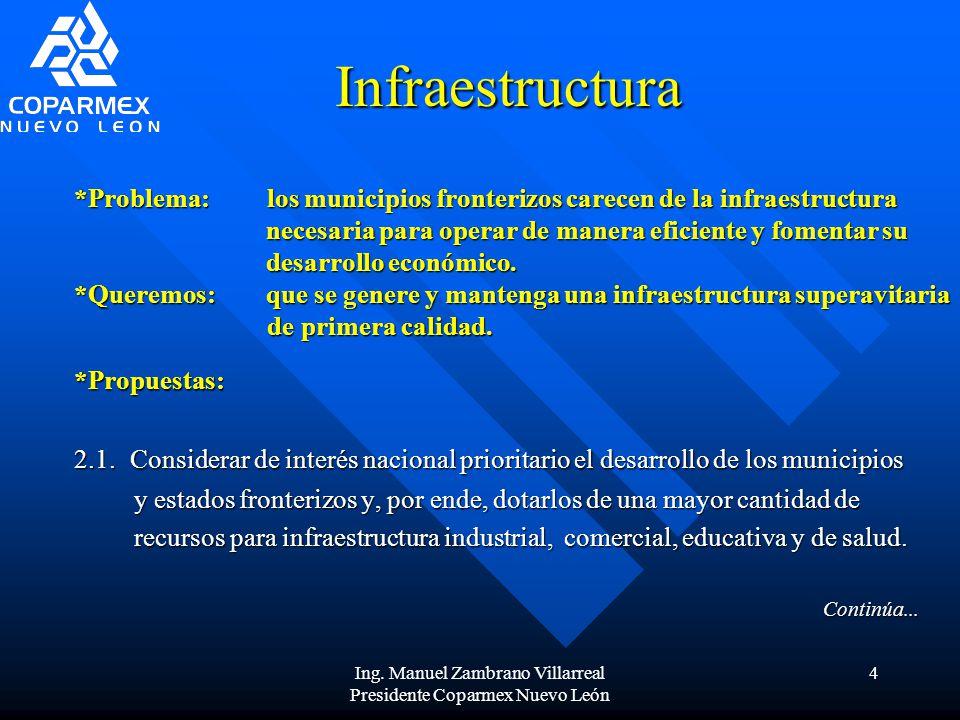 Ing. Manuel Zambrano Villarreal Presidente Coparmex Nuevo León 4 Infraestructura 2.1. Considerar de interés nacional prioritario el desarrollo de los