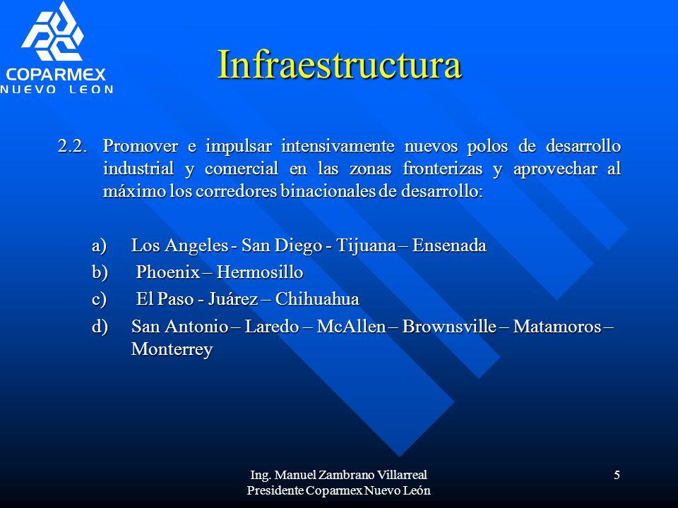 Ing. Manuel Zambrano Villarreal Presidente Coparmex Nuevo León 5 Infraestructura 2.2.Promover e impulsar intensivamente nuevos polos de desarrollo ind