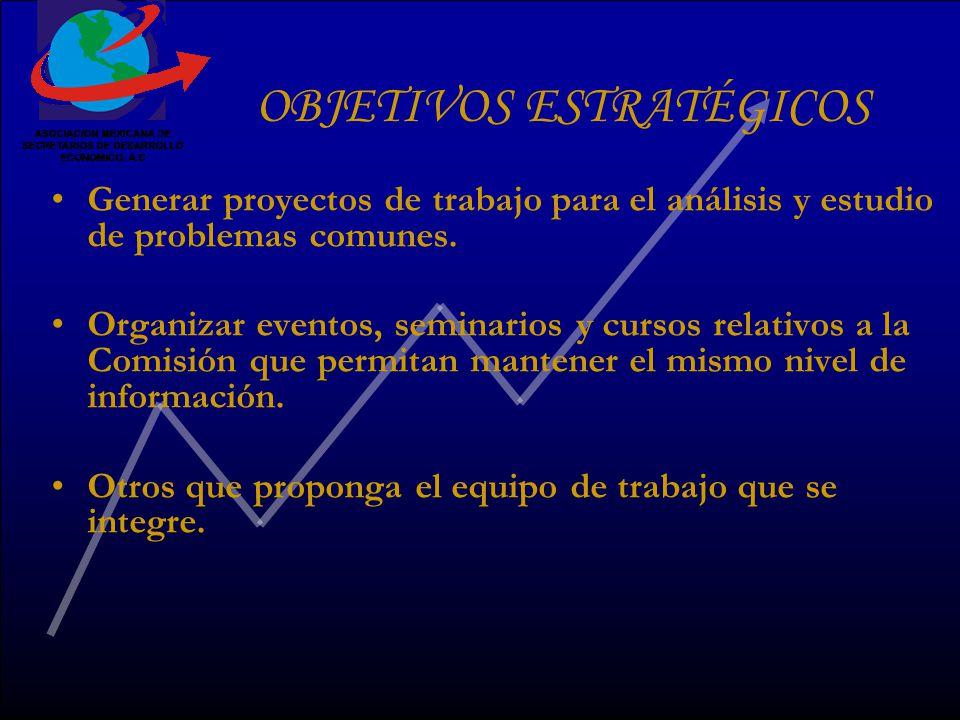 OBJETIVOS ESTRATÉGICOS Generar proyectos de trabajo para el análisis y estudio de problemas comunes.