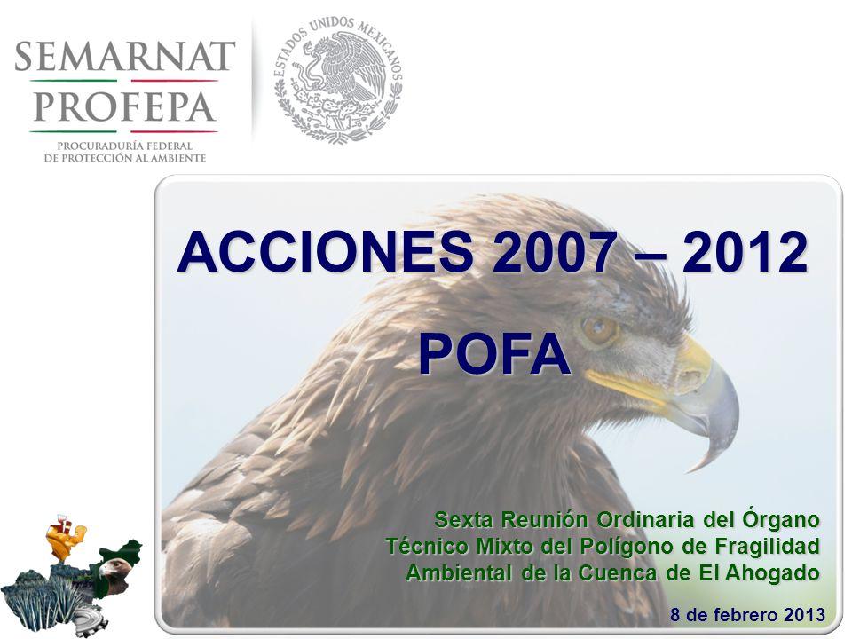 Sexta Reunión Ordinaria del Órgano Técnico Mixto del Polígono de Fragilidad Ambiental de la Cuenca de El Ahogado 8 de febrero 2013 ACCIONES 2007 – 2012 POFA