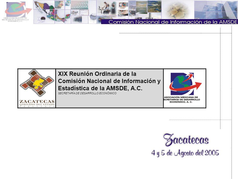 XIX Reunión Ordinaria de la Comisión Nacional de Información y Estadística de la AMSDE, A.C. SECRETARÍA DE DESARROLLO ECONÓMICO