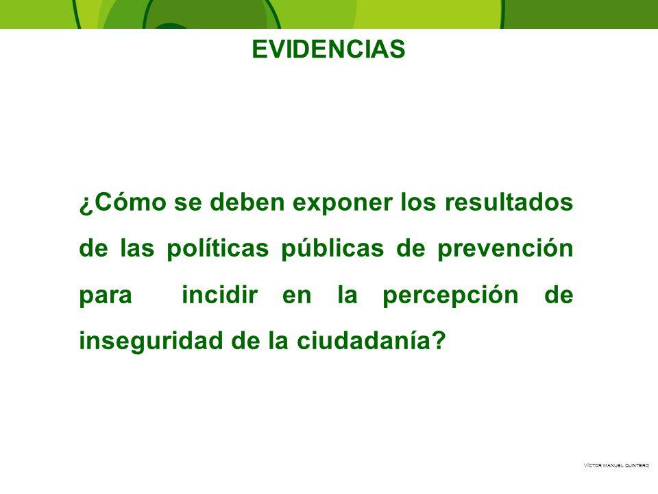 VÍCTOR MANUEL QUINTERO ¿Cómo se deben exponer los resultados de las políticas públicas de prevención para incidir en la percepción de inseguridad de l