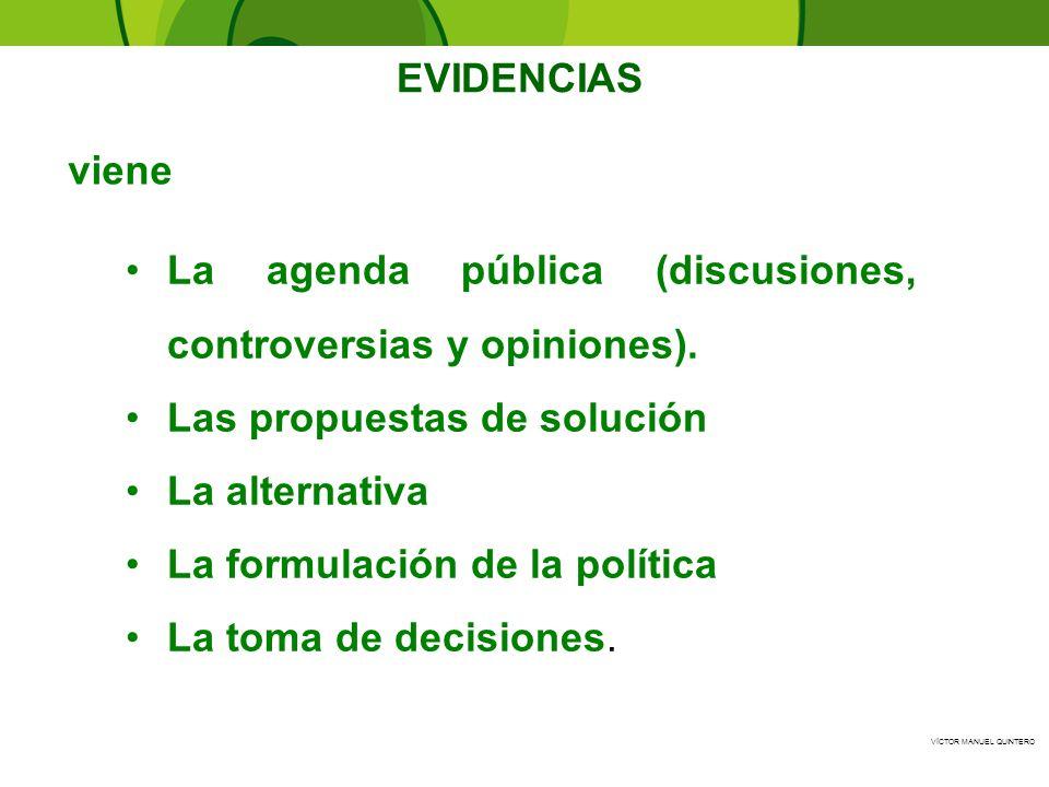 VÍCTOR MANUEL QUINTERO - La agenda pública (discusiones, controversias y opiniones). Las propuestas de solución La alternativa La formulación de la po