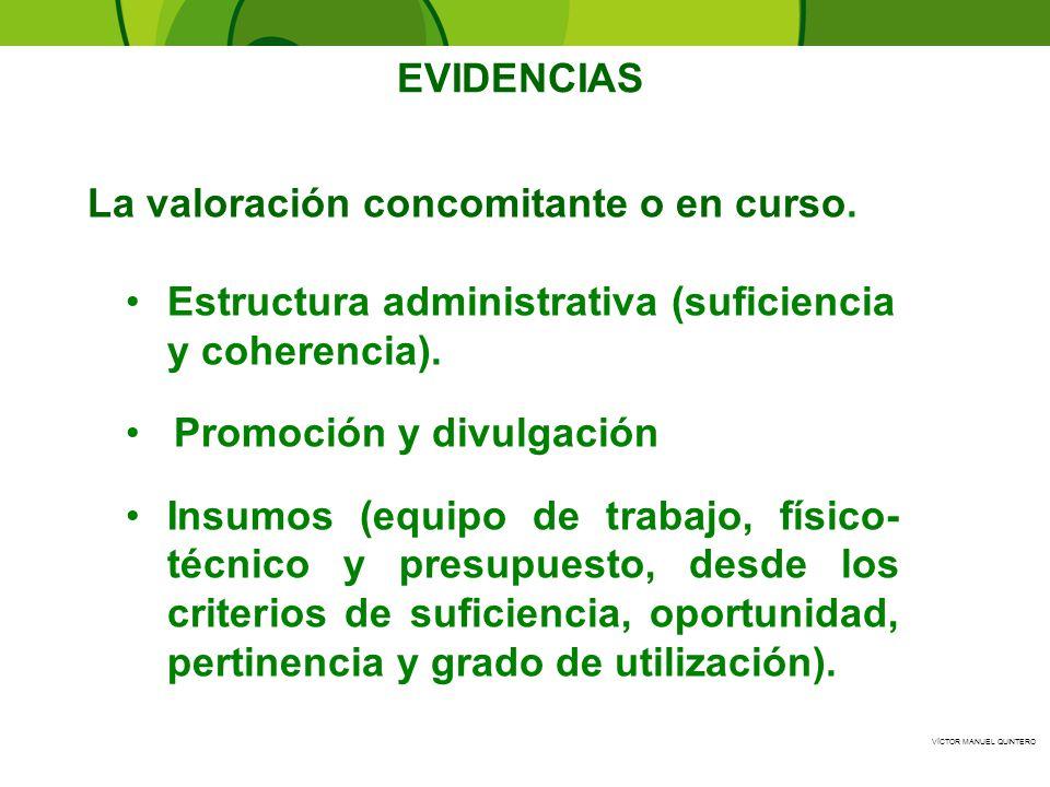 VÍCTOR MANUEL QUINTERO - EVIDENCIAS Estructura administrativa (suficiencia y coherencia). Promoción y divulgación Insumos (equipo de trabajo, físico-