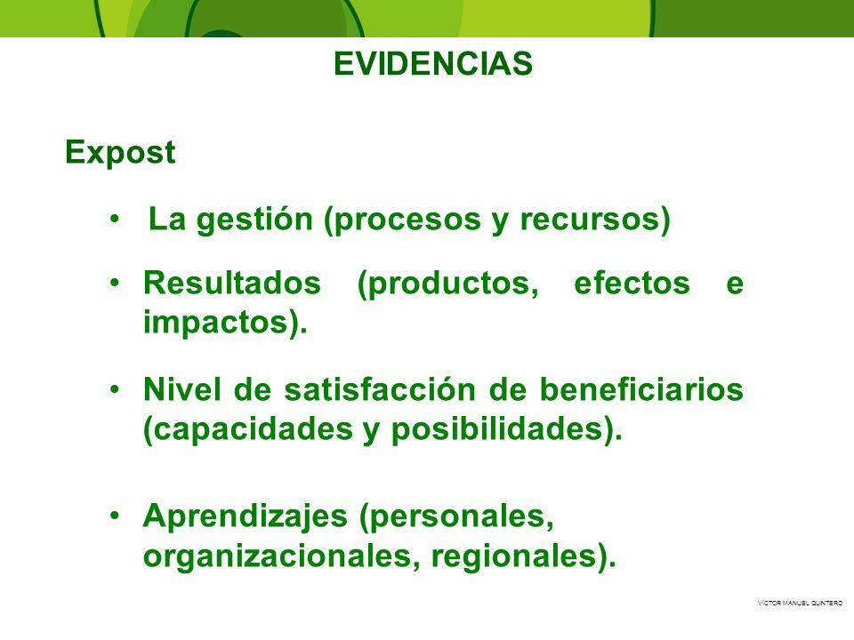 VÍCTOR MANUEL QUINTERO - EVIDENCIAS La gestión (procesos y recursos) Resultados (productos, efectos e impactos). Nivel de satisfacción de beneficiario